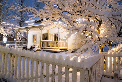 Snowy Night Photograph - Pioneer Home At Christmas Time by Utah Images