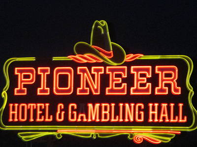 Photograph - Pioneer Hotel And Gambling Hall Sign by Kay Novy