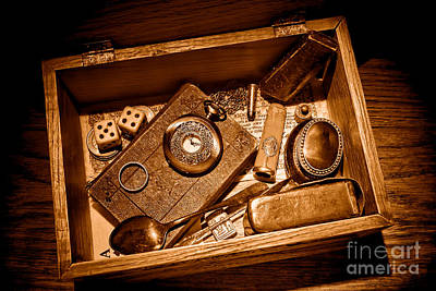 Treasure Box Photograph - Pioneer Keepsake Box - Sepia by Olivier Le Queinec