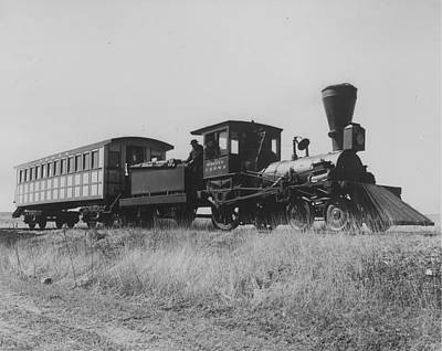 Photograph - Pioneer Steam Engine Travels Prairie - 1948 by Chicago and North Western Historical Society