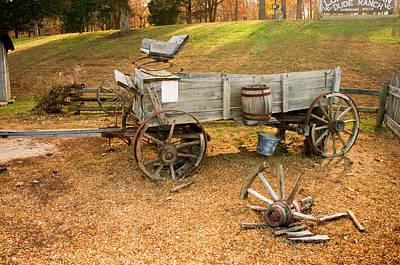 Wagon Wheel Hub Wall Art - Photograph - Pioneer Wagon And Broken Wheel by Douglas Barnett