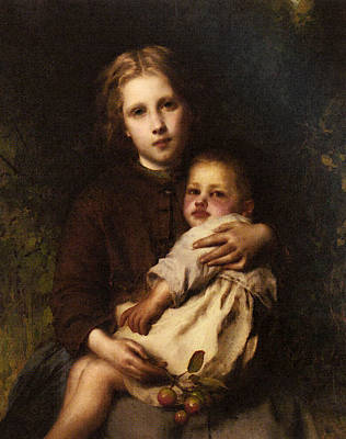 Sisterly Digital Art - Piot Adolphe Sisterly Love by Etienne Adolphe Piot