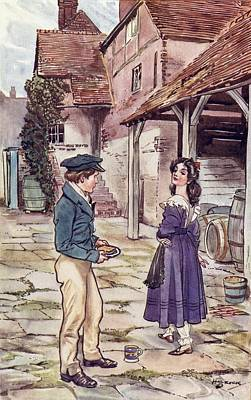 Great Expectations Drawing - Pip And Estella. Frontispiece By H.m by Vintage Design Pics