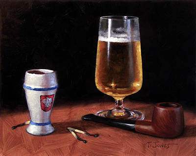 Old World Still Life Painting - Pipe And Beer by Timothy Jones
