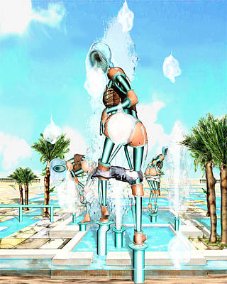 Pipe Human Figures Creating On Oasis Number Two Art Print by Leo Malboeuf