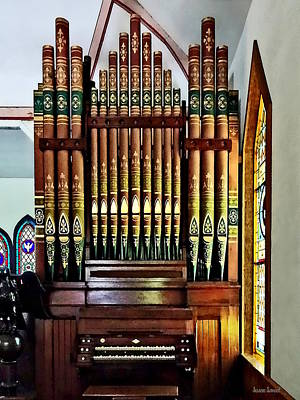 Photograph - Pipe Organ In Church by Susan Savad