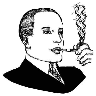 Illustrate Drawing - Pipe Smoking by Karl Addison