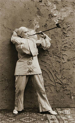 Photograph - Pipe Smoking Mime 1895 by Padre Art