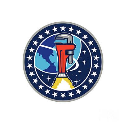 Pipe Wrench Rocket Booster Orbit Earth Circle Retro Print by Aloysius Patrimonio