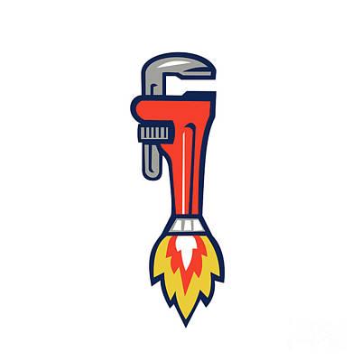 Pipe Wrench Rocket Booster Side Retro Art Print by Aloysius Patrimonio