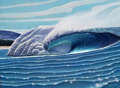 Surfing Art Painting - Pipeline  by Nathan Ledyard