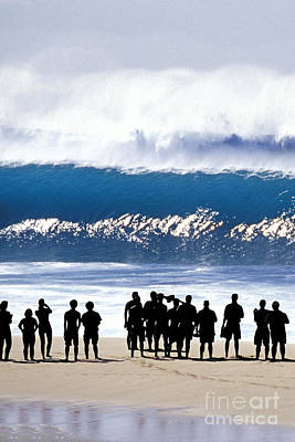 People On The Beach Photograph - Pipeline Shadowland - 1 Of 3 by Sean Davey