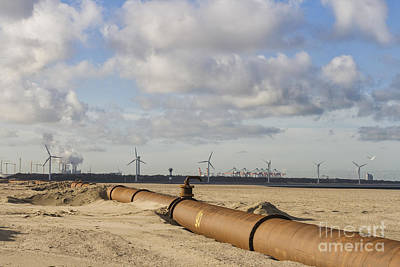 Photograph - Pipelines On Beach Near Port Of Rotterdam by Patricia Hofmeester