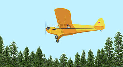 Digital Art - Piper Cub Piper J3 by Gary Giacomelli