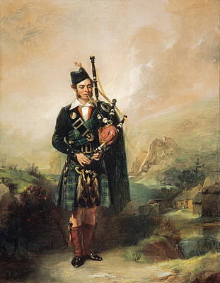Bagpipes Wall Art - Painting - Piper To Queen Victoria, 1843  by Alexander Johnston