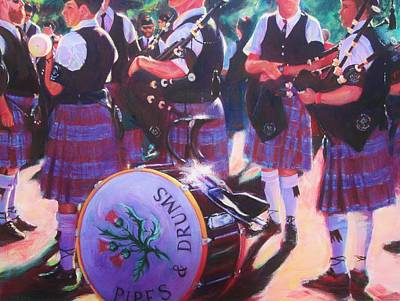 Painting - Pipes And Drums by Lesley McVicar