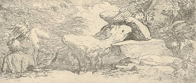 Relief - Piping Satyr And Two Fauns by Salvator Rosa