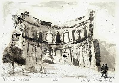 Painting - Piranesi Paraphrase No. 35 - Temple Of Apollo At Hadrian's Villa by Martin Stankewitz