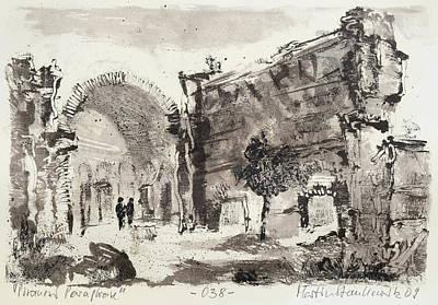 Painting - Piranesi Paraphrase No. 38 - Ruin In Hadrian's Villa Called Sala Dei Folosofi by Martin Stankewitz