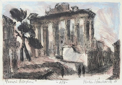Painting - Piranesi Paraphrase No. 54 Temple Of Concord by Martin Stankewitz