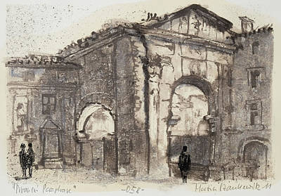 Octavia Painting - Piranesi Paraphrase No. 58, Internal View Of The Atrium Of The Portico Of Octavia by Martin Stankewitz