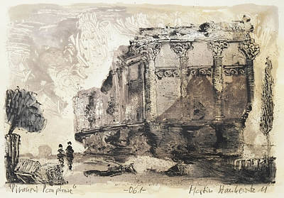 Painting - Piranesi Paraphrase No. 61,ancient Temple Commonly Called The Temple Of Health On The Via D'albano F by Martin Stankewitz