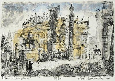 Painting - Piranesi Paraphrase No. 92 - Veduta Del Campidoglio Di Franco by Martin Stankewitz