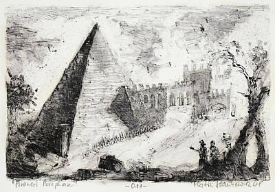 Painting - Piranesi Paraphrase No.11 Pyramid Of Cestius by Martin Stankewitz