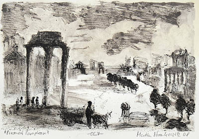 Painting - Piranesi Paraphrase No.27 - Campo Vaccion Forum Romanum by Martin Stankewitz