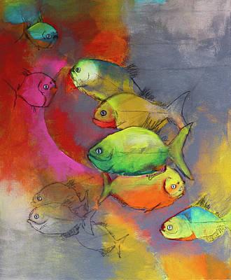 Piranha Painting - Piranhas by Amy Shamansky