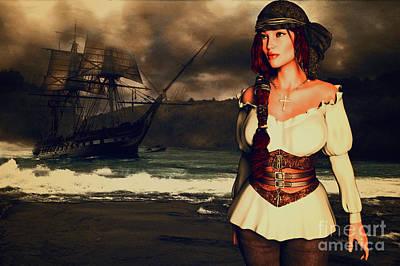 Piracy Painting - Pirate Ashore by KaFra Art