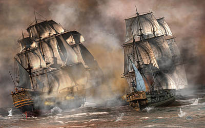 Digital Art - Pirate Battle by Daniel Eskridge