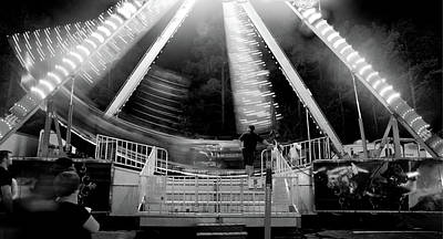 Ecu Photograph - Pirate Carnival Ride In Black And White by Matt Plyler