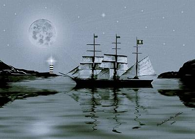 Pirate Ship Digital Art - Pirate Cove By Night by Madeline  Allen - SmudgeArt