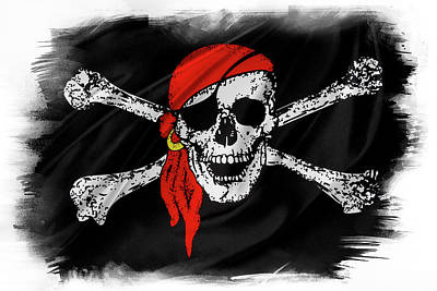 Piracy Jolly Roger Bones Danger Photograph - Pirate Flag by Les Cunliffe