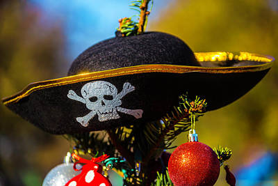 Pirate Hat On Christmas Tree Print by Garry Gay