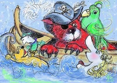 Pirate In The Pond Print by Debra Baldwin