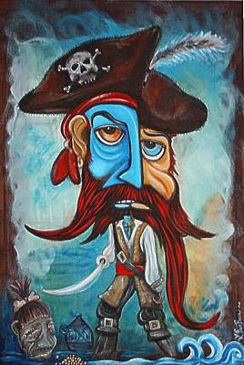 Outsider Painting - Pirate by Laura Barbosa