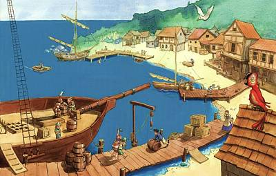 Painting - Pirate Port by Andy Catling