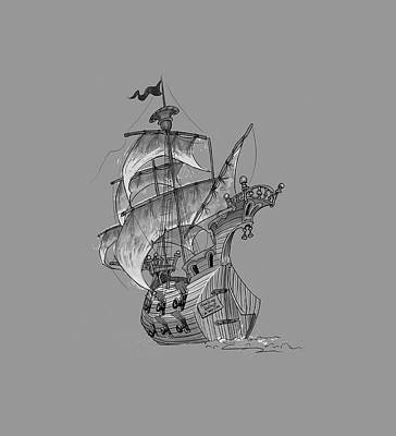 Pirate Ship Digital Art - Pirate Ship by Andy Catling