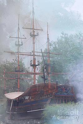 Pirate Ship Hiding In Cove Art Print