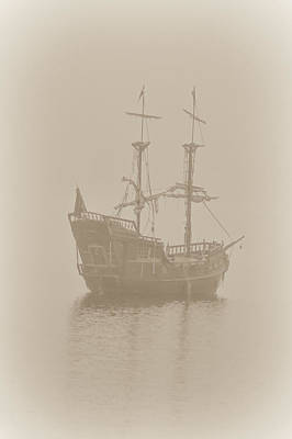 Pirate Ship In Sepia Art Print by Joy McAdams