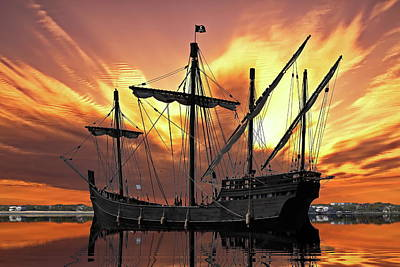 Pirate Ship In The Bay Art Print by Brian Hamilton