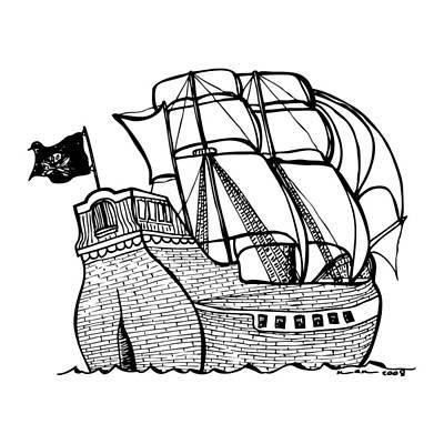Pirate Ship Art Print by Karl Addison