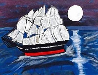 Painting - Pirate Ship Painting Original Acrylic Painting On Canvas by Jonathon Hansen