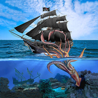 Digital Art - Pirate Ship Vs The Giant Squid by Glenn Holbrook