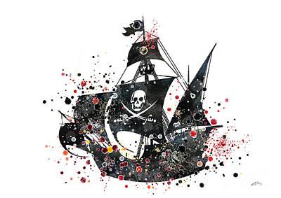 Pirate Ship Watercolor  Art Print by Svetla Tancheva