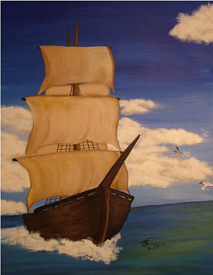 Pirate Ship With Gulls Art Print by Vickie Roche