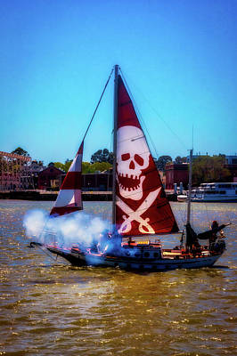 Photograph -  Pirate Ship With Red Skull Sail by Garry Gay