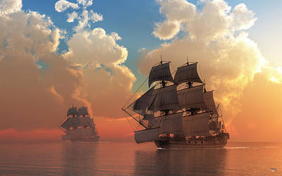 Pirate Sunset Art Print